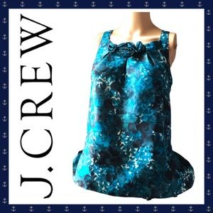 👚 J Crew Blue Floral Silk Top Size 12